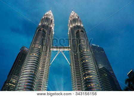 Kuala Lumpur, Malaysia - May 15, 2017. Night Scene Of Petronas Twin Towers In Kuala Lumpur, Malaysia