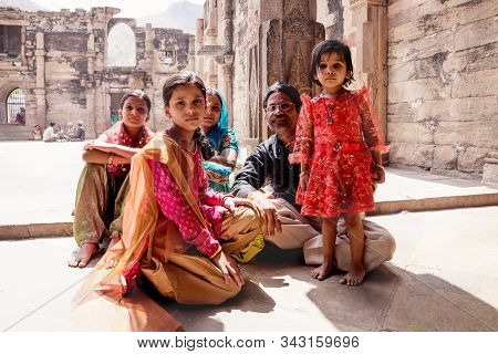 Ajmer, Rajasthan, India - 12 March 2012: Family Portrait Of Indian Tourists In Saris In Dhai Dina Ma