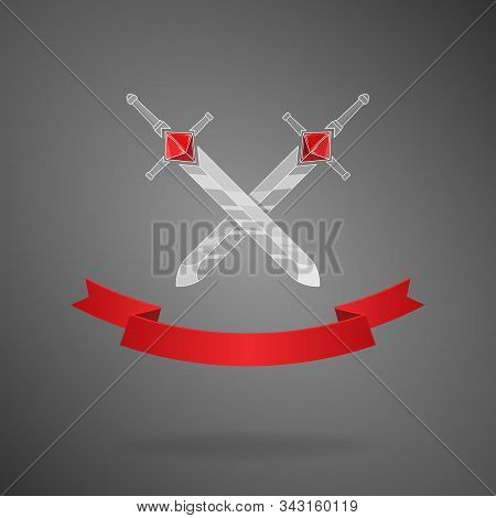 Set Of Cartoon Vector Weapon With Red Ribbon, Swords With Dice Hilt Rpg Games.