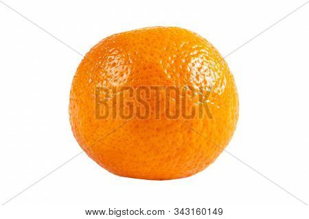 Mandarin Isolated On White Background. Juicy And Fresh Mandarine Isolated Over White With Copy Space
