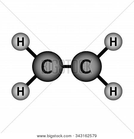 Ethylene Molecule Icon On White Background. Vector Illustration.