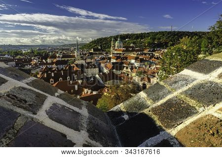 Autumn View Of Historical Buildings And Petrin From The Capital City Of Prague From The Czech Republ