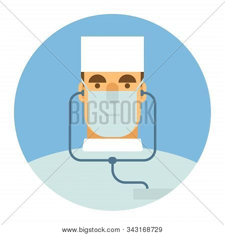 Vector Icon. Color Icon In A Flat Style With The Image Of A Male Doctor.