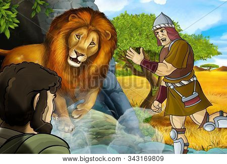 Cartoon Scene With Greek Or Roman Warrior Or Philosopher Fighting Nemean Lion