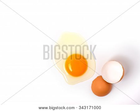 Top View And Close Up Image Of Organic Chicken Eggs Are One Of The Food Ingredients With Copy Space