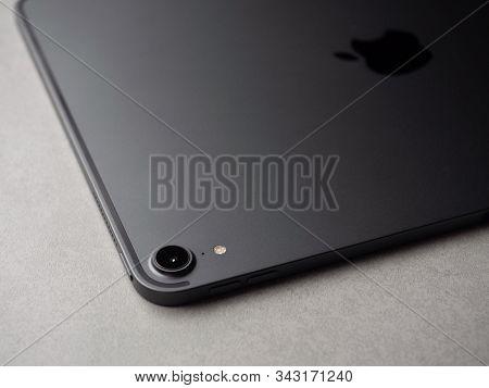 Chiang Rai, Thailand: September 12, 2019 - Close-up Image New Apple Ipad Pro 11 Inch 2018 Camera Wit