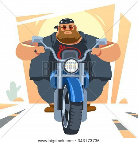 Big Biker Rides Motorcycle, Turns, Bright Colors Motorcycle, Sports Fast Motorcycle. Cartoon, Flat V