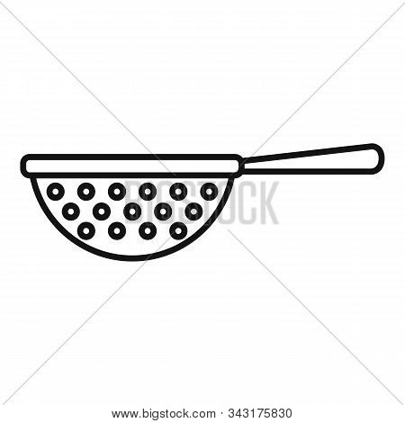 Kitchen Sieve Icon. Outline Kitchen Sieve Vector Icon For Web Design Isolated On White Background