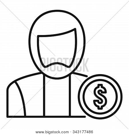 Man Buyer Icon. Outline Man Buyer Vector Icon For Web Design Isolated On White Background