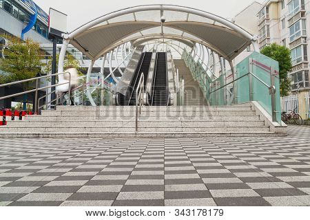 Stairway For Exit And Entrance To Subway Station,modern Architecture Perspective Of Structure Stairc