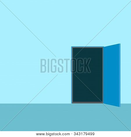 Way To Opportunity, Open Door. New Way In Life, Exit Interior, Opportunity Entrance. Vector Illustra