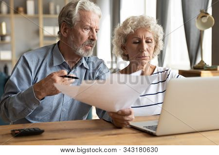 Elderly Couple Manage Budget Having Unpaid Debts Feels Stressed
