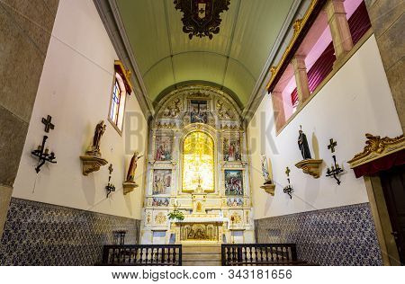 Pombal, Portugal - August 23, 2019: Detail Of The Main Chapel Of The Old Parish Church Of St Martin,