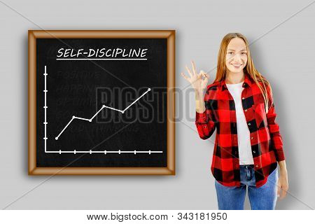 Young Woman Showing Board With Chart Self Discipline. Self Discipline Concept.