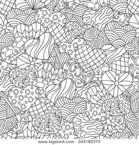 Vector Seamless Pattern Of Hand-drawn Abstract Hearts, Coloring Page For Children And Adults
