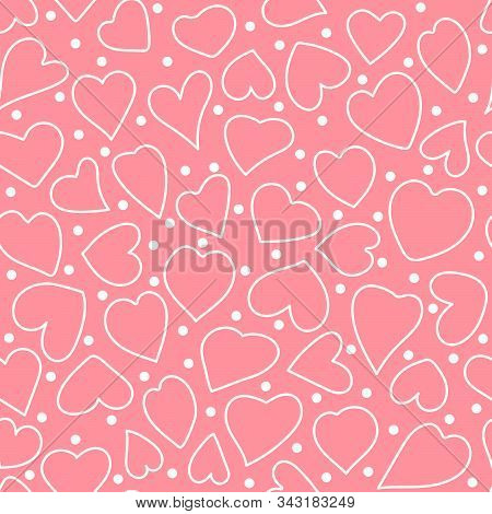 Heart Shapes And Polka Dot. Vector Hand Drawn Valentine Day Seamless Pattern. White Outline Elements