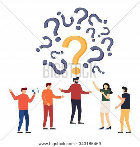 People Frequently Asked Questions Around Question Marks. Question Answer Metaphor. Vector Illustrati