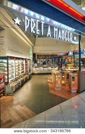 DUBAI, UAE - CIRCA JANUARY 2019: entrance to Pret a Manger at Dubai International Airport. Pret a Manger is an international sandwich shop chain.