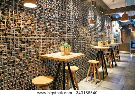 DUBAI, UAE - CIRCA JANUARY 2019: interior shot of Flour + Stone restaurant in Dubai International Airport.