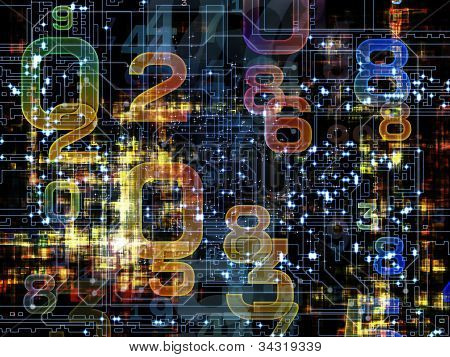 Composition of numbers on the subject of modern computing digital worlds and information processing poster