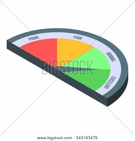 Excellent Credit Score Icon. Isometric Of Excellent Credit Score Vector Icon For Web Design Isolated