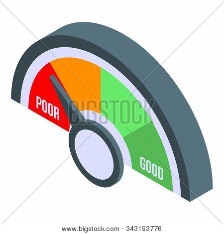 Poor Credit Score Icon. Isometric Of Poor Credit Score Vector Icon For Web Design Isolated On White
