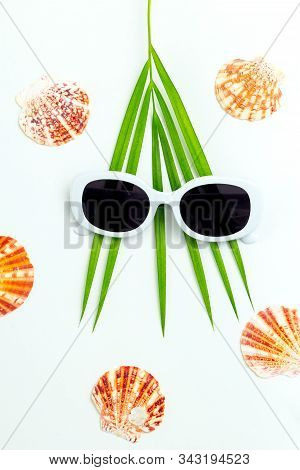 Palm Leaf ,  Shell And White Sunglasses On White Background. Travel Concept.  Vertical Photo