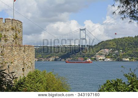 The View Across The Bosphorus From The 15th Century Rumeli Hisari Fort In The Sariyer District Of Is