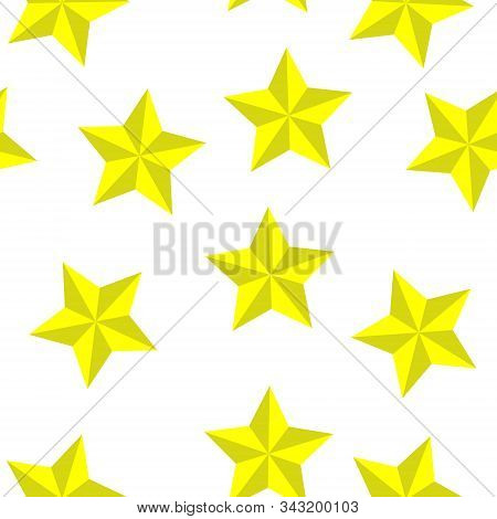 Star Vector Icon Of Yellow Color Seamless Pattern On A White Background.