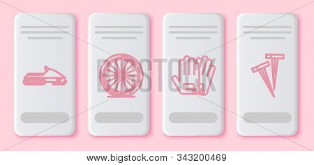 Set Line Snowmobile, Bicycle Wheel, Gloves And Pegs For Tents. White Rectangle Button. Vector