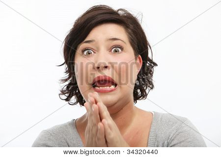 Woman Reacting In Shock And Horror
