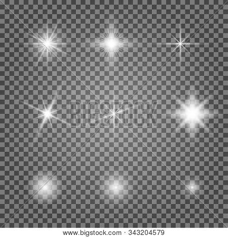 Light Flare Vector Effect Set. Flash Lihgtning Star Isolated On Transparent Background. Shiny Starli