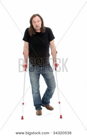 Unhappy Injured Or Disabled Man