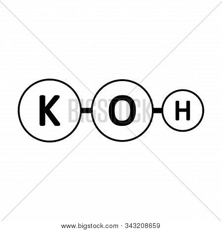 Potassium Hydroxide Molecule Icon On White Background. Vector Illustration.