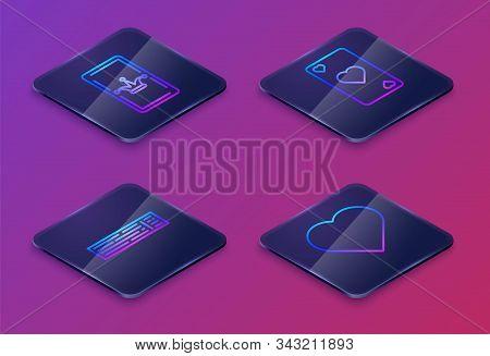 Set Isometric Line Joker Playing Card, Deck Of Playing Cards, Playing Card With Heart Symbol And Pla