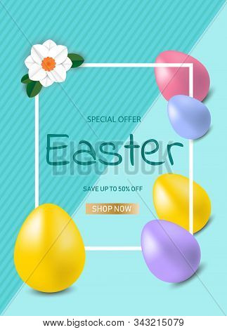 Easter sale banner background template with beautiful colorful spring flowers and eggs. Vector illustration. Happy Easter, easter bunny, easter background, easter banners, easter flyer, easter design,easter with flowers on red background, Copy space text