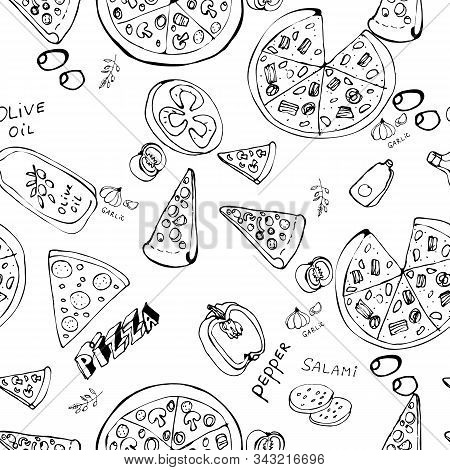 Seamless Pattern With Hand Drawn Pizza Slices.