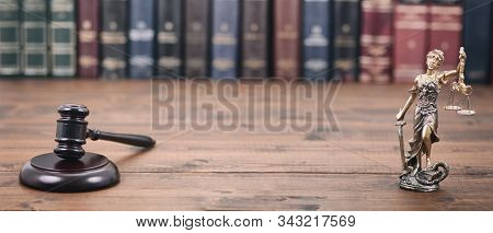 Law And Justice, Legality Concept, Lady Justice, Scales Of Justice And Judge Gavel On A Wooden Backg