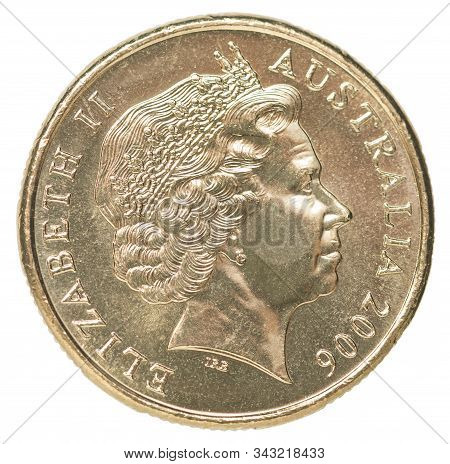 Coin One Australian Dollar With A Portrait Image Of Queen Elizabeth Ii Of Great Britain Isolated On