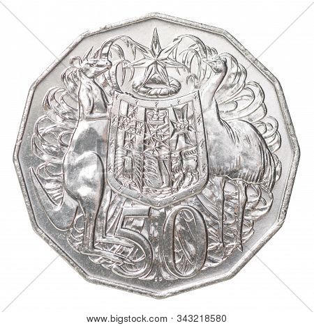 Fifty Australian Cents Coin With Coat Of Arms Isolated On White Background