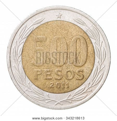 Chilean 500 Peso Coin Isolated On White Background