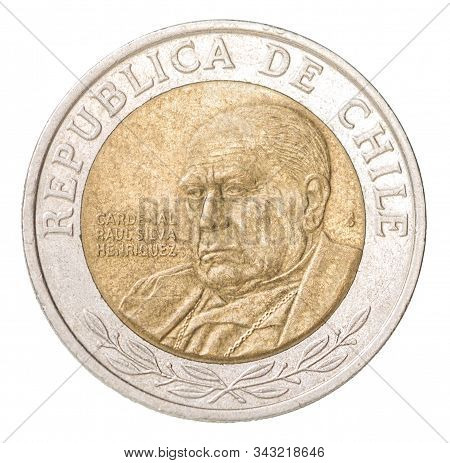 Chilean 500 Peso Coin With The Image Of A Portrait Of A Chilean Cardinal - Raul Silva Enriques Isola
