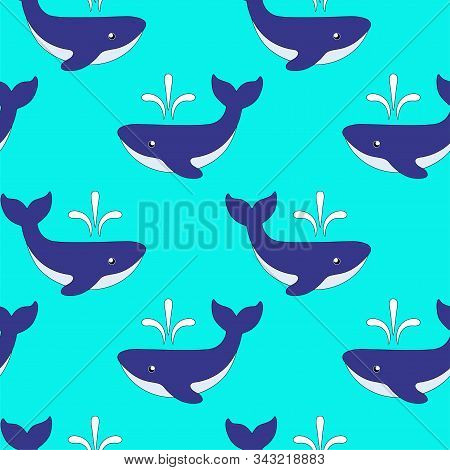 Whales With Fountains Are Marine Animals. Seamless Pattern With Cute Blue Whales On A Light Blue Bac