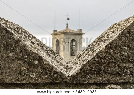 Ghibelline Merlon With The Tower View In San Marino, The Battlement With Merlons In Castle - Image