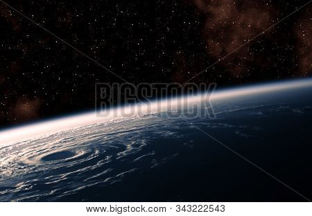 View From Space Of A Large Hurricane Raging On Planet Earth. 3d Illustration.
