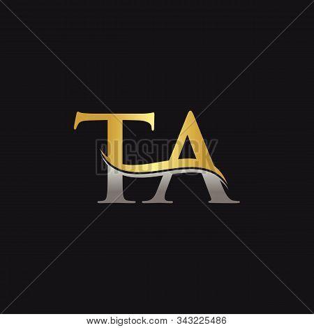 Gold And Silver Letter Ta Logo Design With Black Background. Ta Letter Logo Design