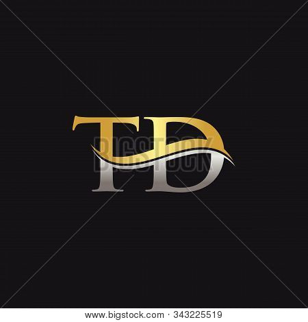 Gold And Silver Letter Td Logo Design With Black Background. Td Letter Logo Design