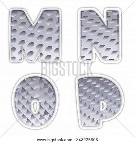 Golden Metallic Shiny Letters M, N, O, P