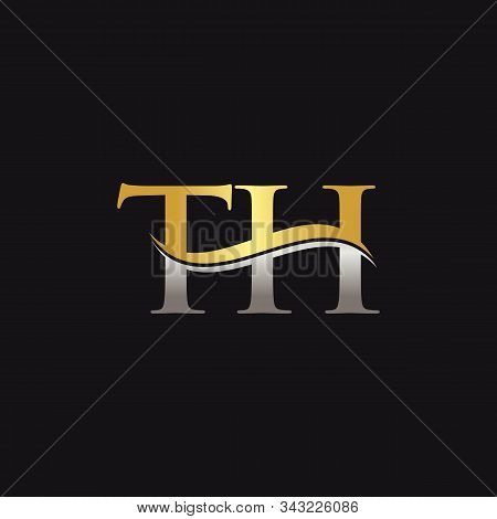 Gold And Silver Letter Th Logo Design With Black Background. Th Letter Logo Design