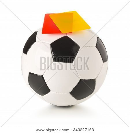 Soccer Sports Ball With Referee Yellow And Red Cards On Top Over White Background - Penalty, Foul Or